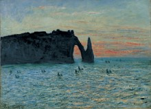 The Cliff at Aval, Étretat, Sunset, 1883, Claude Monet