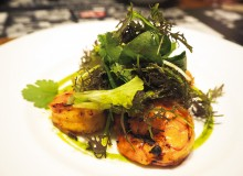 Grilled prawn with cilantro sauce