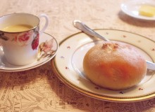 Fresh bread and soup in espresso cups