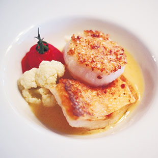 Fish and scallop nestled in creamy white-wine sauce