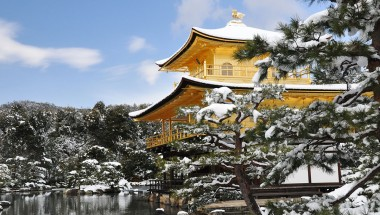 Snowfall at Kinkaku-ji