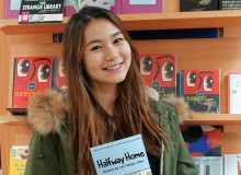 Inzer with a copy of Halfway Home at Kinokuniya Bookstore