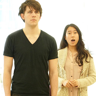 Matt Danalewich (Lt. Wright) and Sachi Tanaka (Rose) rehearse a number from <em>The Secret Garden</em>