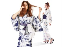 """Ookami"" (the wolf) yukata (left); ""Tsubame ni kaede"" (the swallow and the maple) yukata"