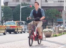 Sean riding a Docomo Cycle bike