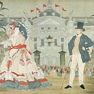 In Front of the Paris Opera, 1879, Kyosai Kawabata