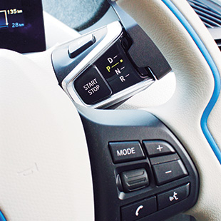 The i3 REx's steering wheel control panel