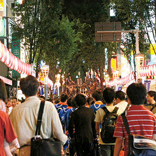 Crowded matsuri at night