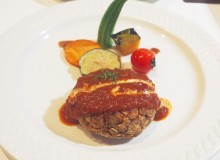 Veggie burger steak at Hanada Rosso