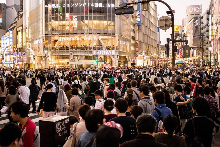 Crowded Shibuya Crossing