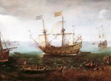 "Cornelis Claesz van Wieringen, ""An Armed Merchantman and Other Vessels near a Harbour City, Possibly Dordrecht,"" ca. 1615-20"