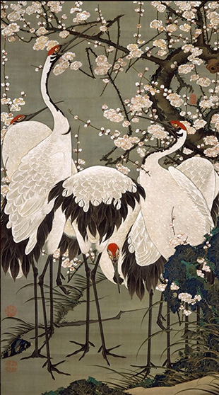 """Colorful Realm of Living Beings: Cranes and Plum Blossoms"" (141.8x79.7 cm), The Museum of the Imperial Collections, Sannomaru Shozokan"