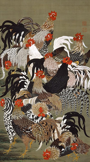 """Colorful Realm of Living Beings: Flock of Fowl"" (142.6x79.7 cm), The Museum of the Imperial Collections, Sannomaru Shozokan"