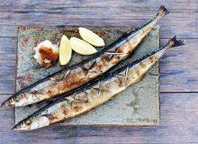 Fried sanma fish