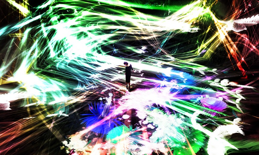 """""""Crows are Chased and the Chasing Crows are Destined to be Chased as well, Blossoming on Collision - Light in Space"""" 2016 Interactive digital installation 4 min. 20 sec. Sound: Takahashi Hideaki"""