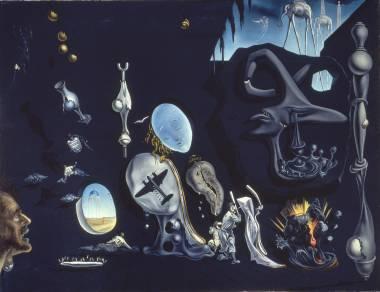 ④ サルバドール・ダリ 《ウラニウムと原子による憂鬱な牧歌》 1945年、66.5×86.5cm、カンヴァスに油彩、国立ソフィア王妃芸術センター蔵 Collection of the Museo Nacional Centro de Arte Reina Sofía, Madrid © Salvador Dalí, Fundació Gala-Salvador Dalí, JASPAR, Japan, 2016.