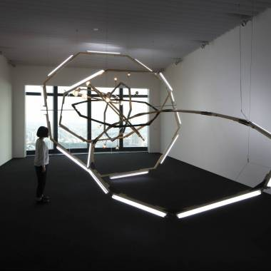 Björn Dahlem Black Hole (M-Spheres) 2008 Wood, steel, fluorescents, light bulbs, stain Dimensions variable Photo: Blaise Adilon Photo courtesy: The Saatchi Collection, London