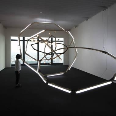 Björn Dahlem Black Hole (M-Spheres) 2008 Wood, steel, fluorescents, light bulbs, stain Dimensions variable Photo: Blaise Adilon Photo courtesy: The Saatchi Collection, London