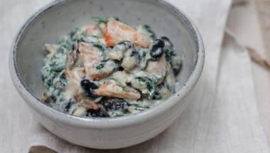 Spinach, Persimmon & Black Bean Yuzu Shiro-ae