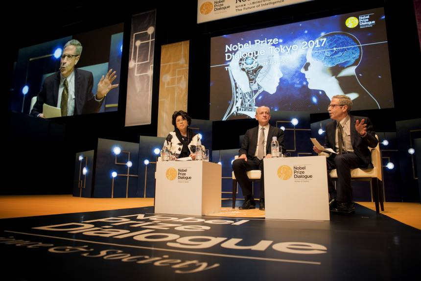 From left to right: Sawako Takeuchi, Stuart J. Russell, Eric S. Maskin.