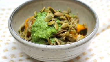 Soba Noodles with Mizuna Miso Pesto