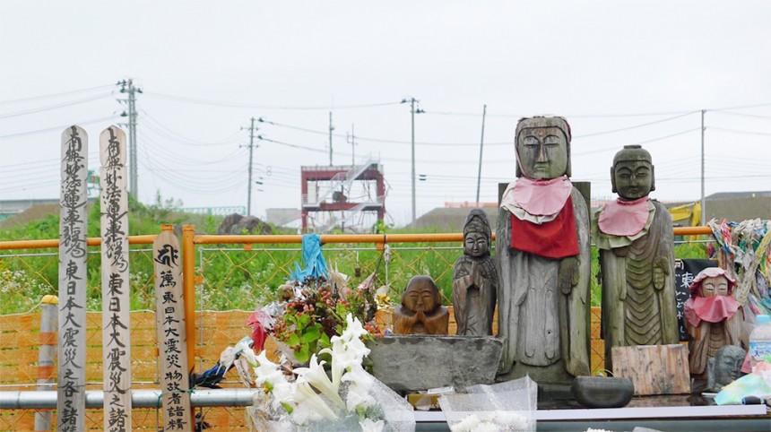 The shell of the Bōsai Taisaku Chōsha (防災対策庁舎 ) and a shrine honoring those who perished there.