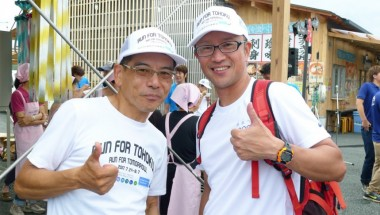 Fujii ichiro (right) has run in every relay since it started and helped out as a volunteer immediately after the disaster.