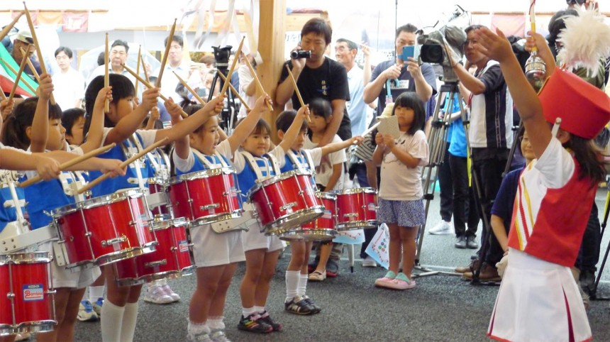 The children of Minami-San-Riku Kindergarten playing their new instruments, donated to them from abroad.