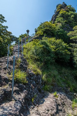 A steep climb to Itsutsuji Fudo on a craggy peak that looks out to the Inland Sea