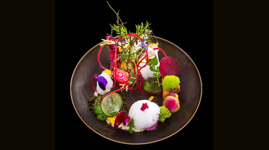 Vegetables with Foam of Rocket and Anchovy Mayonnaise