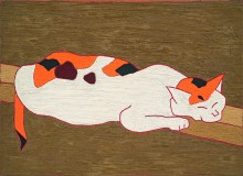 Cat, 1965. Oil on panel. Kimura Teizo Collection, Aichi Prefectural Museum of Art