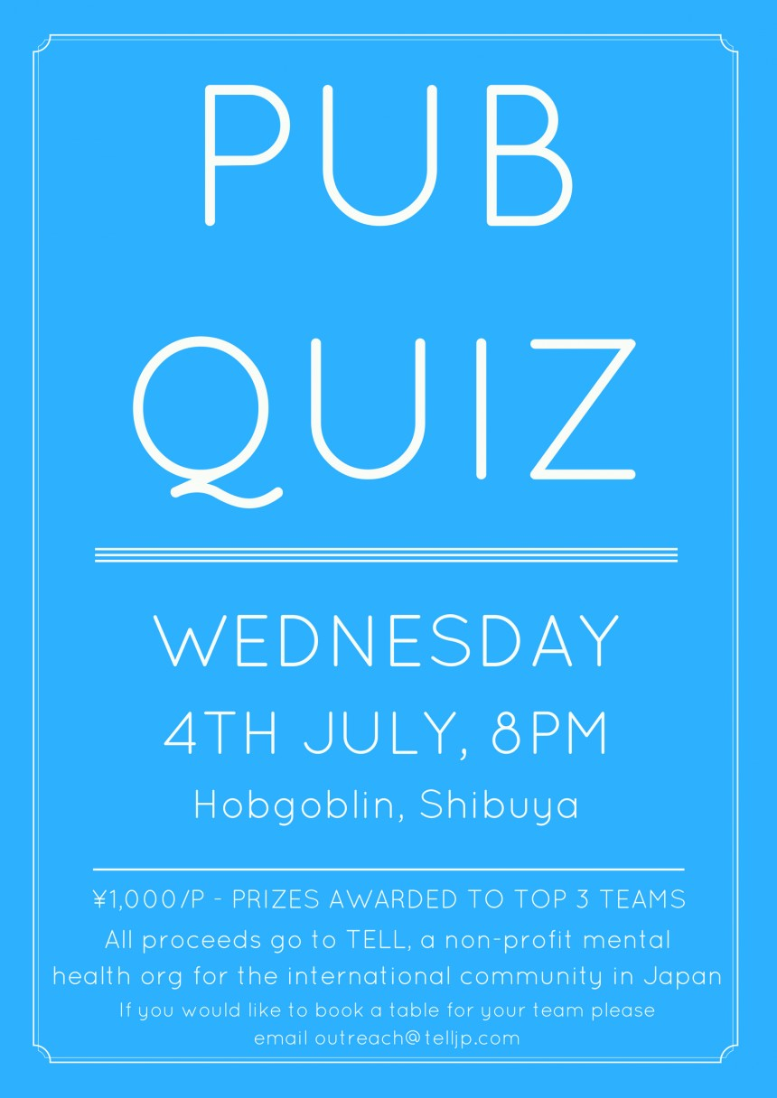 Pub Quiz tell july 2018