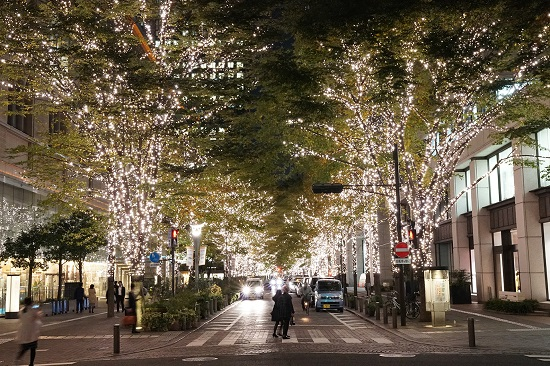 Christmas 2018 Illumination Marunochi trees Chiyoda street
