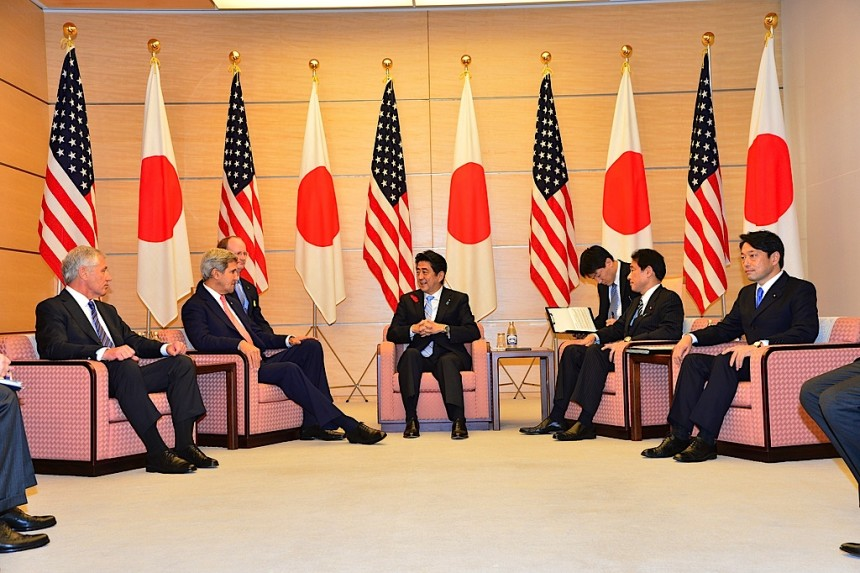 U.S. Secretary of State John Kerry and U.S. Secretary of Defense Chuck Hagel meet with Prime Minister Shinzo Abe at the prime minister's official residence in Tokyo on October 3, 2013. [State Department photo/ Public Domain]