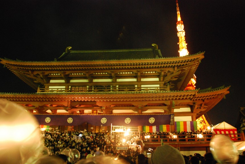 Zojoji Temple, hatsunode, Tokyo Tower, New Year, tradition, Japanese tradition