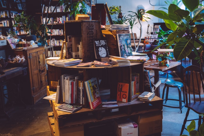 ROUTE BOOKS cafe higashi ueno bookstore plants