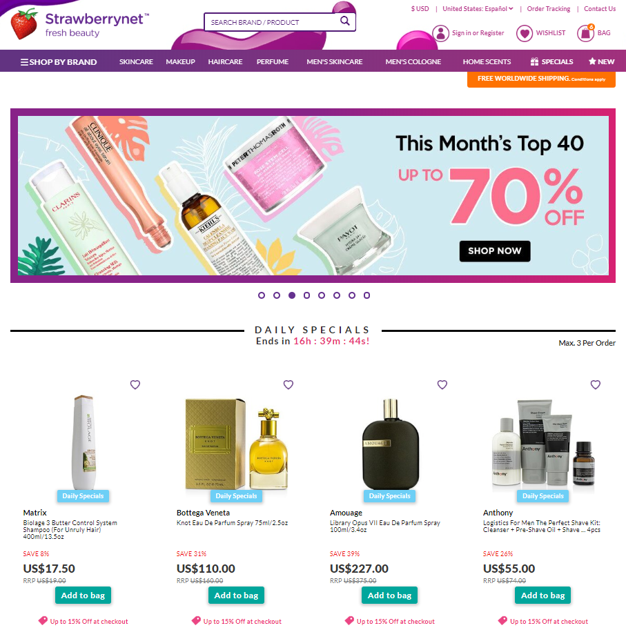 Strawberrynet e-commerce shopping skincare makeup retail