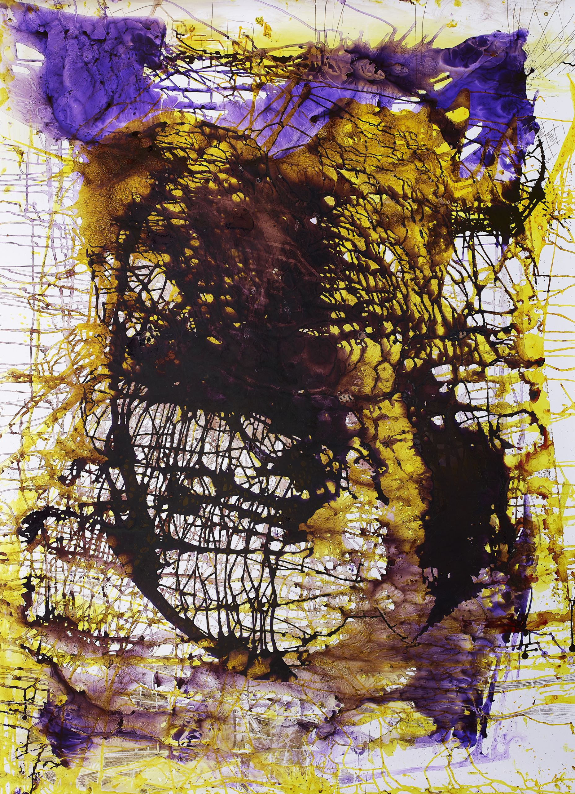 """""""Scars"""", multimedia painting by Jackie Saccoccio, exhibited at THE CLUB Tokyo."""