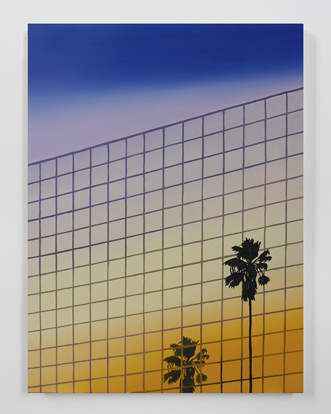"""Alec Egan, Sunset Palm with Reflection in Mirrored Building, 2020, oil on canvas, 121.9 x 91.4 cm, Courtesy of the Artist and Anat Ebgi Gallery, Los Angeles. Featured at """"L.A.: Views"""" Exhibition, MAKI Gallery"""