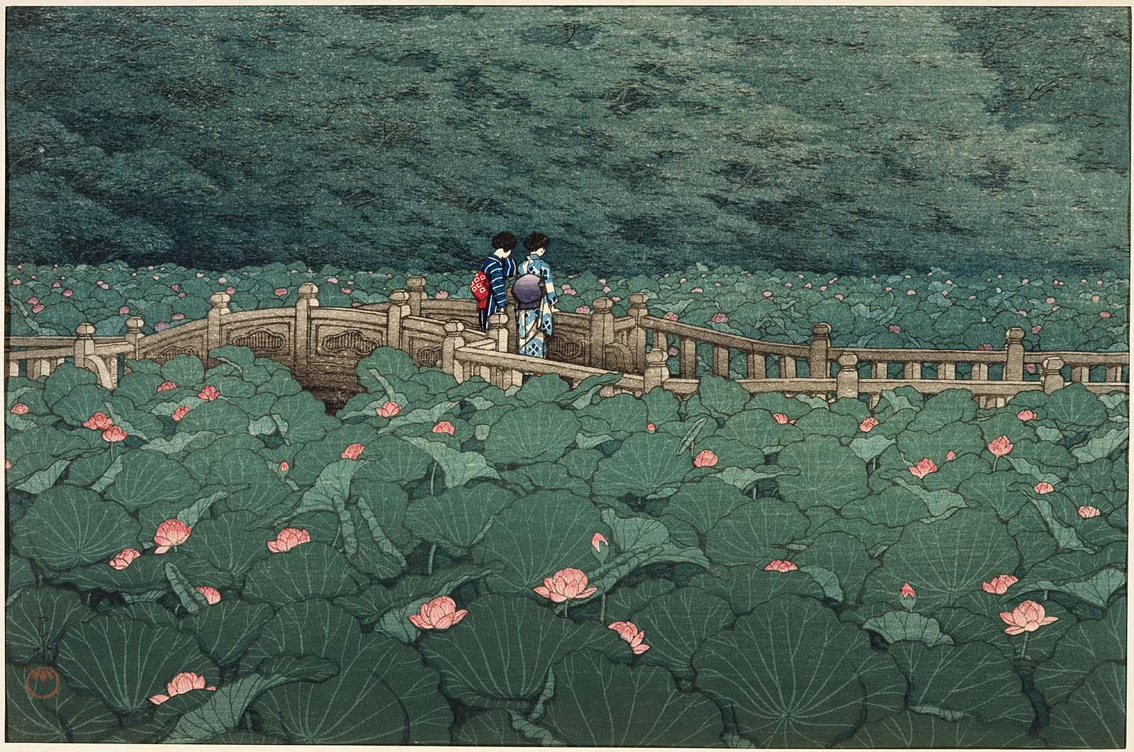 The_Pond_at_Benten_Shrine_in_Shiba,_Kawase_Hasui,_MFAB_50.2885